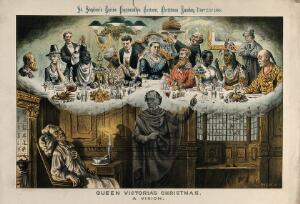 view Gladstone, asleep in a chair next to a fire, has a nightmare vision of Disraeli showing Queen Victoria celebrating Christmas dinner with foreigners, including a Chinese man, an American Indian, an African man and an Indian man. Colour lithograph by Tom Merry, 25 December 1886.