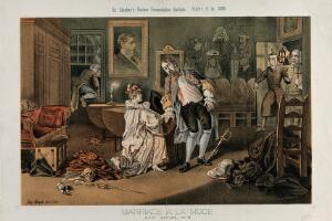 """view A man has been stabbed by his wife's lover with a sword on which is written """"duplicity""""; parody of the fifth scene of Hogarth's Marriage a la mode. Lithograph by Tom Merry, 7 November 1885."""