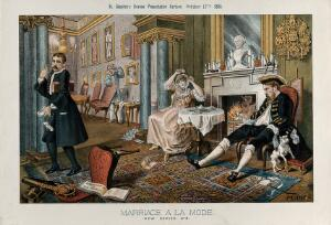 view A wealthy couple is having breakfast in a richly decorated room, the morning after a card party; parody of the second scene of Hogarth's Marriage a la mode. Lithograph by Tom Merry, 17 October 1885.