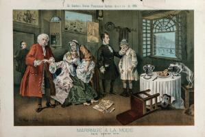 "view Parody of the sixth scene of Hogarth's Marriage a la mode: the countess, on whose dress is written ""radicalism"" has taken some ""disestablishment poison"" after reading that her lover has been hanged; the dog is eating the meal on the table, which is inscribed with ""capital"". Lithograph by Tom Merry, 14 November 1885."