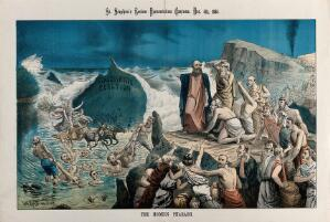 view Moses parting the Red Sea: British politicians depicted drowning in the sea. Lithograph by Tom Merry, 5 December 1885.
