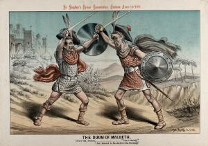 view William Gladstone, dressed as a warrior, is fighting with a younger man (A.J. Balfour ?). Lithograph by Tom Merry, 14 August 1886.