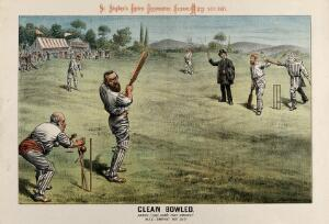 "view British politicians playing cricket: Parnell, batting with a bat marked ""treason"" is bowled by The times newspaper. Lithograph by Tom Merry, 14 May 1887."