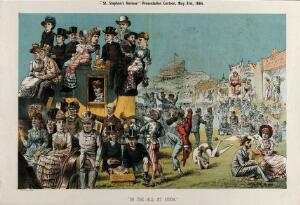 view British politicians at the Derby at Epsom. Lithograph by Tom Merry,31 May 1884.