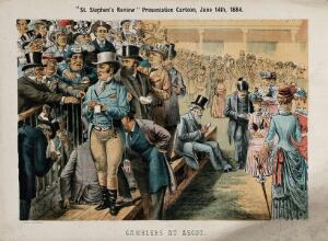 view British politicians gambling at Ascot. Lithograph by Tom Merry, 14 June 1884.