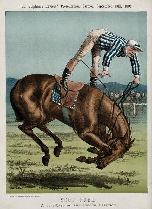 view William Gladstone as a jockey, falling from his horse. Lithograph by Tom Merry, 13 September 1884.