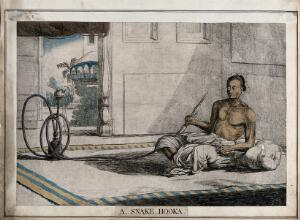 view Interior with reclining man holding snake-like hookah, Calcutta, West Bengal. Coloured etching by François Balthazar Solvyns, 1799.