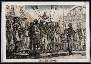 view Procession with seated figure carried on a stretcher, with snakes, Calcutta, West Bengal. Coloured etching by François Balthazar Solvyns, 1799.