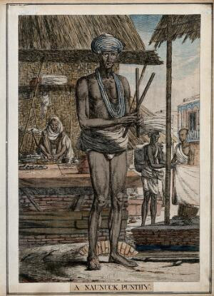 view Hindu fakir with one shoe and half a moustache, Calcutta, West Bengal. Coloured etching by Francois Balthazar Solvyns, 1799.