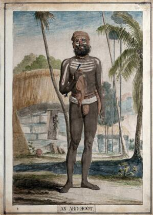 view Fakir belonging to a sect known for occasional nudity, Calcutta, West Bengal. Coloured etching by Francois Balthazar Solvyns, 1799.