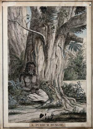 view Hindu ascetic seated under a tree, near Calcutta, West Bengal. Coloured etching by Francois Balthazar Solvyns, 1799.