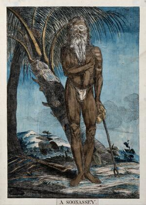 view Ascetic standing next to a tree, near Calcutta, West Bengal. Coloured etching by Francois Balthazar Solvyns, 1799.