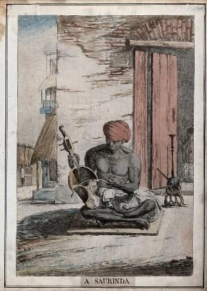 view Street scene with musician playing a saurinda, a type of violin, Calcutta, West Bengal. Coloured etching by François Balthazar Solvyns, 1799.