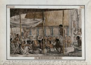 view Crowd listening to recital and commentary on the Mahabharata, Calcutta, West Bengal. Coloured etching by François Balthazar Solvyns, 1799.