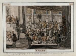 view Hindu priest, or brahmin, and assistants, singing to a seated audience, Calcutta, West Bengal. Coloured etching by François Balthazar Solvyns, 1799.