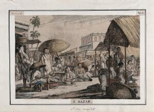 view Market scene, Calcutta, West Bengal. Coloured etching by François Balthazar Solvyns, 1799.
