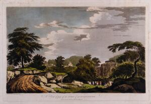 view Landscape with fort at Latifpur, Bihar. Coloured etching by William Hodges, 1785.