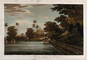 view Mausoleum of Makhdam Shah Daulut at Maner, Bihar. Coloured etching by William Hodges, 1786.
