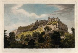 view Fort of Gwalior, Madhya Pradesh. Coloured etching by William Hodges, 1786.