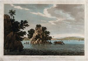 view Large rock in the river Ganges, India. Coloured etching by William Hodges, 1787.