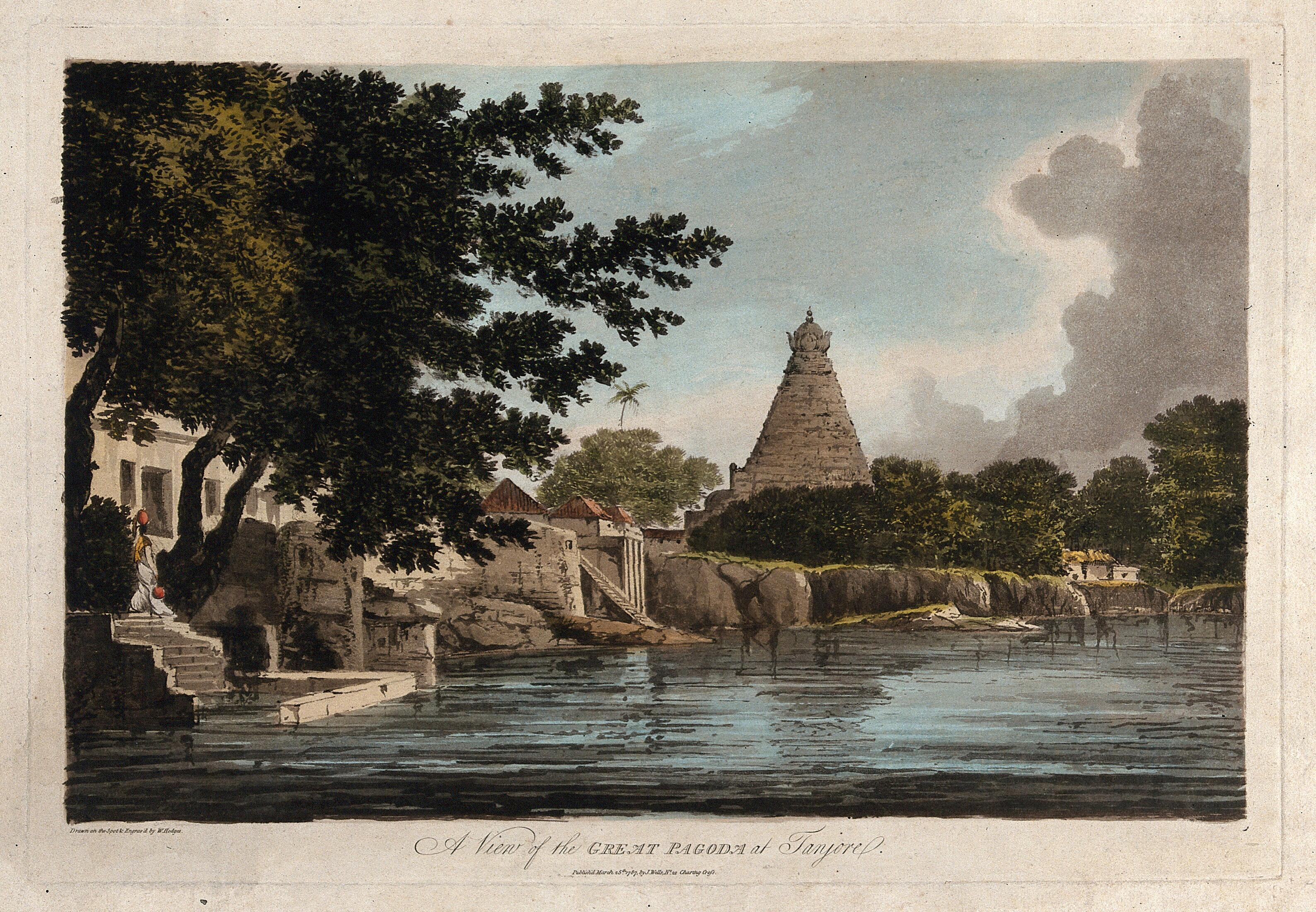 Pagoda at Thanjavur, Tamil Nadu  Coloured etching by William