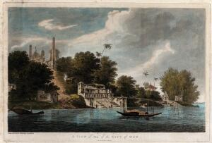 view Ayodhya seen from the river Ghaghara, Uttar Pradesh. Coloured etching by William Hodges, 1785.