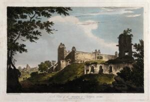 view Mosque at Fatehpur Sikri, Uttar Pradesh. Coloured etching by William Hodges, 1786.