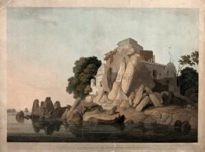 view Fakir's Rock on the river Ganges, near Sultanganj, Bihar: south west view. Coloured aquatint by Thomas and William Daniell, 1800.