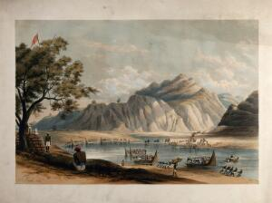 view Transporting artillery by boat across the river Beas, Himachal Pradesh. Coloured lithograph after Alexander Jack, c. 1847.