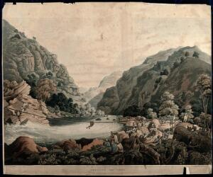 view Crossing the river Touse by rope bridge, Himalaya mountains, India. Coloured aquatint by Robert Havell after James Baillie Fraser, 1820.