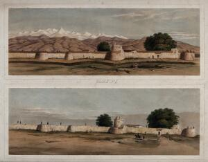 view Earthquake damage to fortifications, with trees, Jalal-Kut, Afghanistan. Coloured lithographs by W.L. Walton, c. 1850.