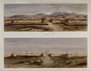 view Earthquake damage to fortifications, with snow-covered mountains, Jalal-Kut, Afghanistan. Coloured lithographs by W.L. Walton, c. 1850.