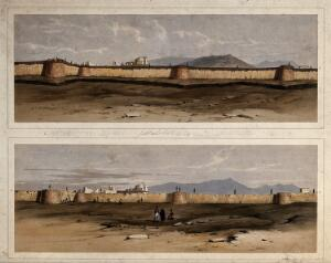 view Earthquake damage to fortifications, with three figures in the foreground, Jalal-Kut, Afghanistan. Coloured lithographs by W.L. Walton, c. 1850.