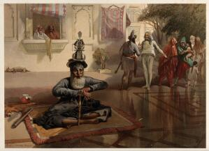 view Seated holy man with figures, Amritsar, Punjab. Chromolithograph by William Simpson, 1864.