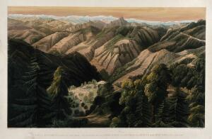 view Simla and surrounding mountains in the Himalayas, Himachal Pradesh. Chromolithograph by William Simpson, c. 1852.