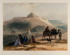view Landscape with veiled women and camels, Kalat-i-Ghilzai, Afghanistan. Coloured lithograph by R. Carrick after Lieutenant James Rattray, c. 1847.