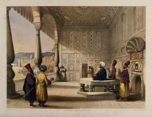 view Men in the decorated palace of Shah Shujah Ool Moolk, Afghanistan. Coloured lithograph by R. Carrick after Lieutenant James Rattray, c. 1847.