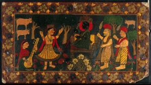 view Krishna attended by gopis, cows and worshippers. Gouache painting.