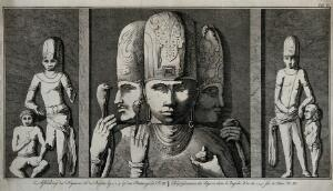 view Sculpted figures on the temples of Elephanta. Etching by C. Philips Jacobsz., ca. 1780, after C. Niebuhr.