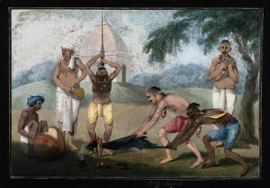 view A goat about to be beheaded as a Hindu ritual in honour of the goddess Kālī. Gouache painting by an Indian artist.