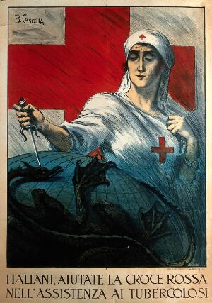view A nurse standing in front of the Red Cross stabs a dragon that holds the globe in its claws; representing assistance to tuberculous people from the Italian Red Cross. Colour lithograph by B. Cascella.