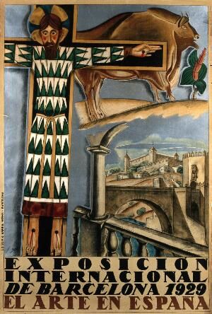 view International Exhibition, Barcelona, 1929: Cristo de Medinaceli, Altamira ox-drawing from caves, view of Toledo (?). Colour lithograph by F. Gali, 1929.