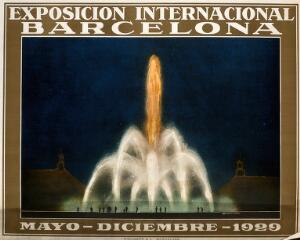 view International Exhibition, Barcelona, 1929: the magic fountain (Font de Monjuich). Colour lithograph after Santacreu, 1929.
