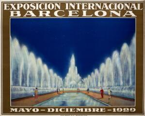 view International Exhibition, Barcelona, 1929: fountains in the exhibition, figures in the foreground. Colour lithograph, 1929.