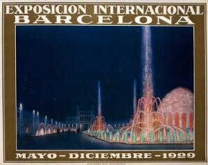 view International Exhibition, Barcelona, 1929: fountains in the exhibition. Colour lithograph, 1929.