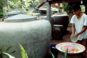 view Rainwater catchment tank in Thailand