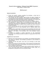 view Research ethics workshop – Wellcome Trust/KEMRI Programme : Kilifi, Kenya, 12 March 2004 : Meeting report.