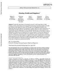 view Housing, health and happiness / Matias D. Cattaneo, Sebastian Galiano, Paul J. Gertler, Sebastian Martinez, Rocio Titiunuk.
