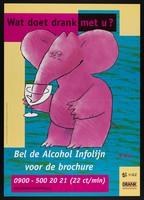 view A pink elephant drinking a glass of wine advertising an alcohol helpline. Colour lithograph after L. Munnik for Nationaal Instituut voor Gezondheidsbevordering en Ziektepreventie, 2000.