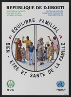view Maternal and family health programme in Djibouti. Colour lithograph by Multiservices for Ministère de la Santé, ca. 2000.